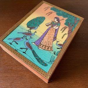 Handmade Wooden Woman & Peacock Blue Jewelry Box